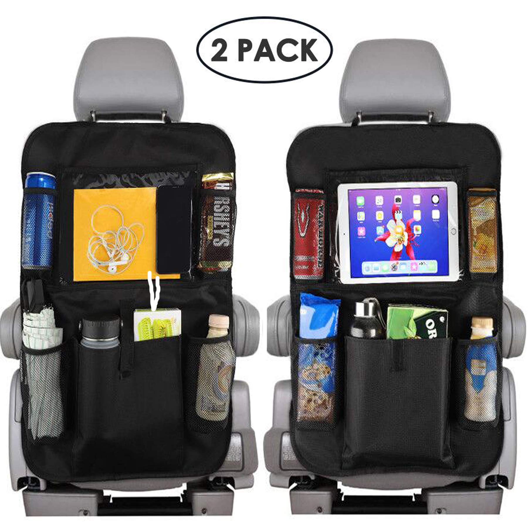 Reserwa Car Backseat Organizer 2 Pack Waterproof and Durable Car Seat Organizer Kick Mats Muti-Pocket Back Seat Storage Bag with Touch Screen Tablet Holder to Organize Toy iPad Bottle Snacks Books by Reserwa