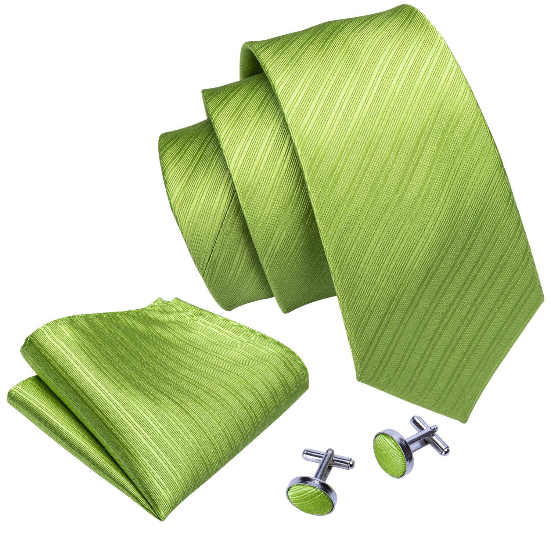 Green Ties for Men Solid Color Tie Set Wedding Party Fashion Men