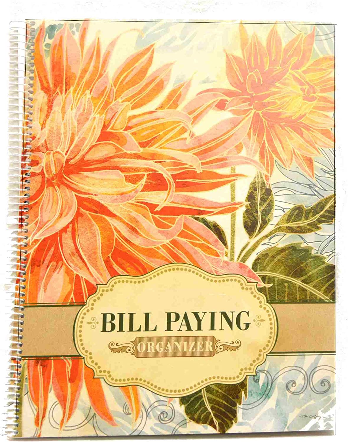 Monthly Bill Paying Organizing Organizer Budget Book with Pockets with Bonus Get-Out-of-Debt Tips - Orange Flowers