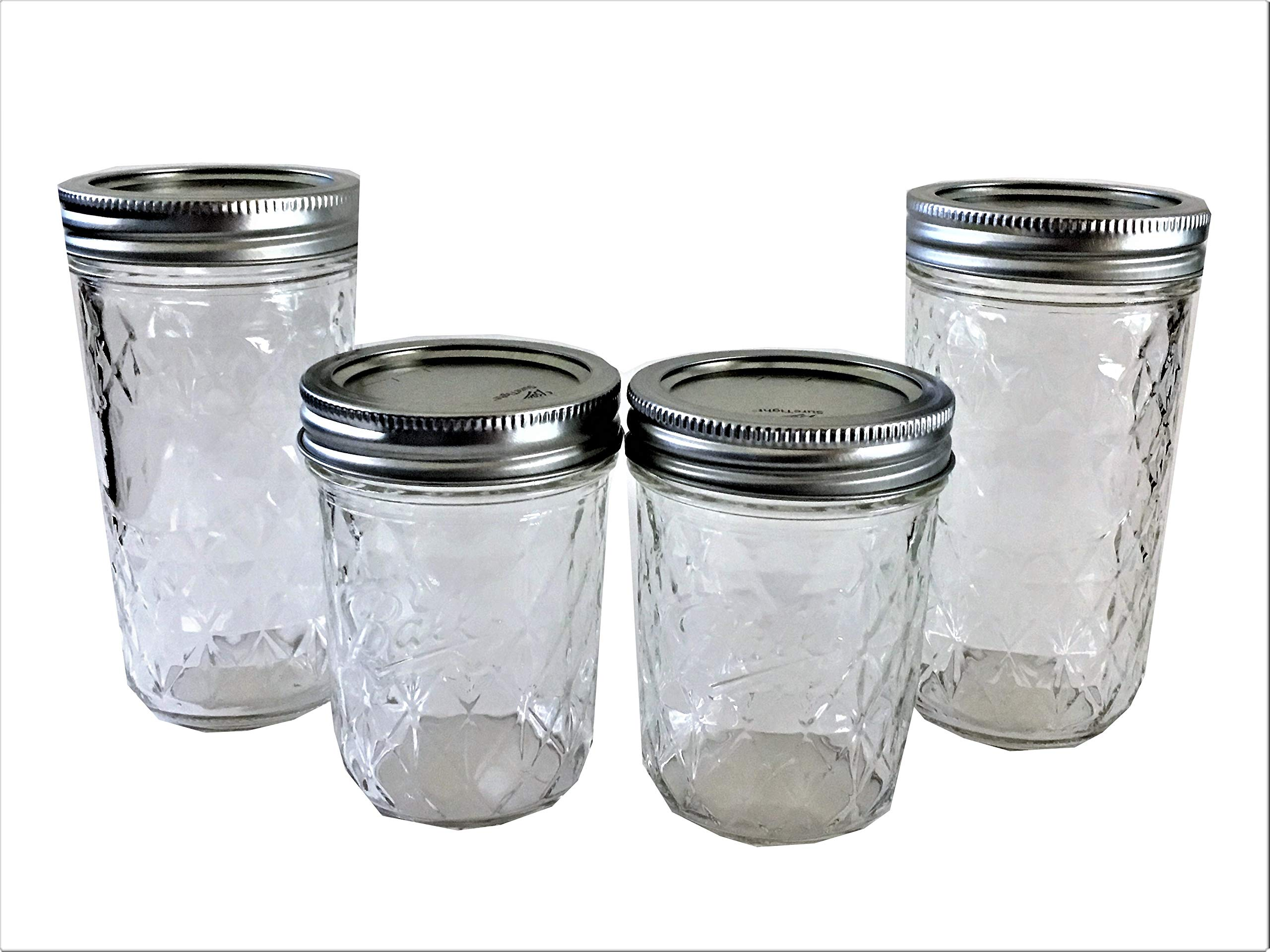 Ball Mason Jelly Jars-Two 12 oz, Two 8 oz.- Quilted Crystal Style-Set of 4