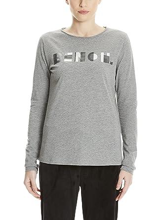 Bench Women's Logo Longsleeve Long Sleeve Top, Grey (Winter Grey Marl  Ma1054),