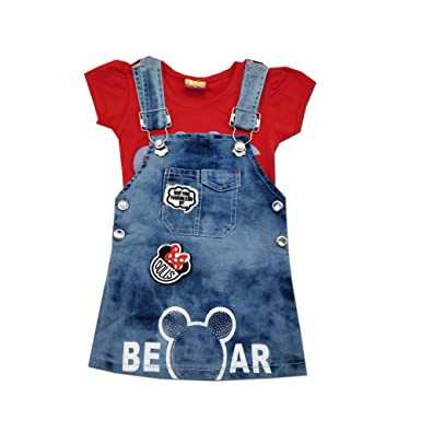 dcea74de53f Kid's Care Fashion Baby Girl's Denim Jeans Dungaree Dress Frock with T-Shirt  Set(DD953): Amazon.in: Clothing & Accessories
