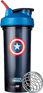 Blender Bottle Marvel Comics Pro Series Shaker Bottle, 28-Ounce, Captain America Shield