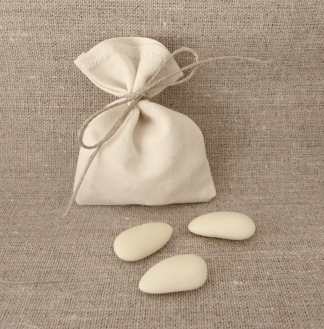 10 sac à dragées sachet à dragées pochette pochon coton ECRU naturel coton recyclé ancien 7, 5 x 10 cm SANS LIEN OU RUBAN cadeau invité à customiser à décorer pour baptême mariage communion LOT DE 10 sacs