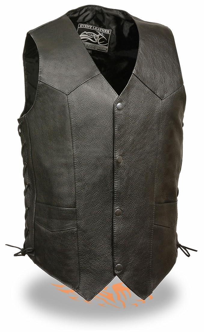 Mens Side Lace Black Cowhide Leather Vest (XL)