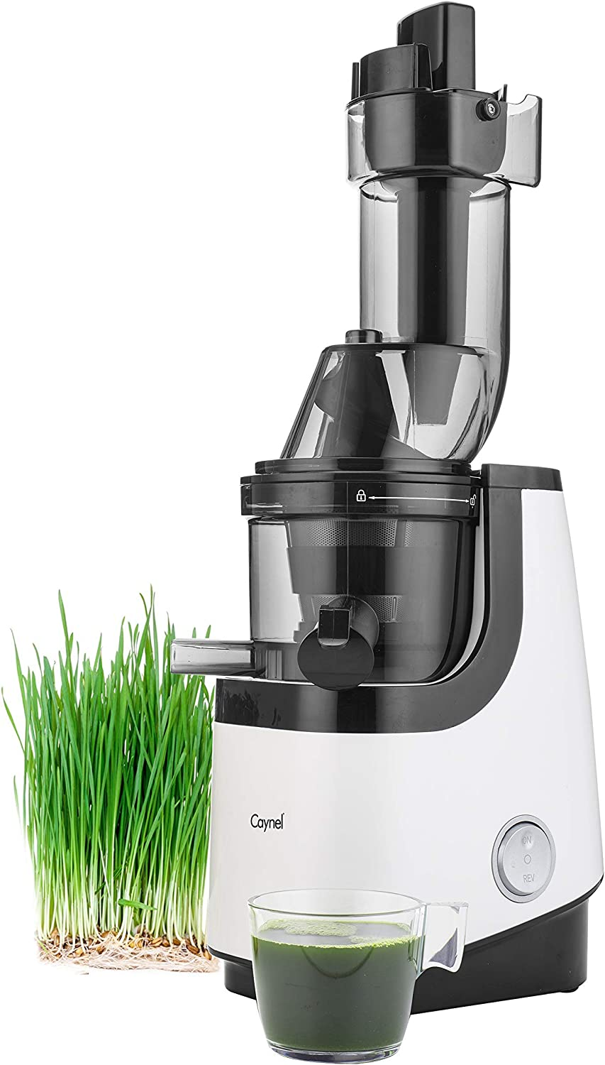 Caynel Whole Slow Juicer, Masticating Cold Press Juicer Machine Easy to Clean, Higher Nutrients and Vitamins, Eastman Tritan Material BPA-Free, Ultra Efficient 200W, 50RPMs, Ceramic (White)