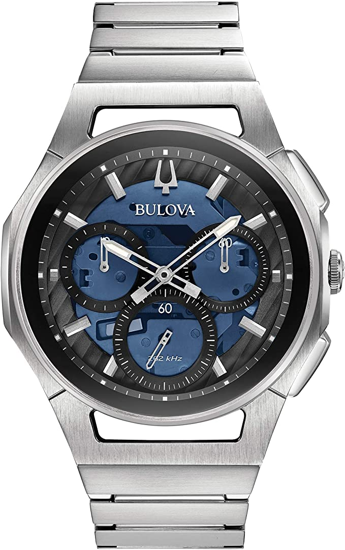 Bulova CurV 96A205 クロノグラフ ステンレススチール ブルーダイヤル腕時計 メンズ