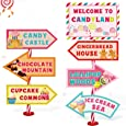 Candy Land Party Sign Welcome Directional Signs Street Standup Photo Booth Prop Cutouts Sweet Theme Birthday Christmas Decoration