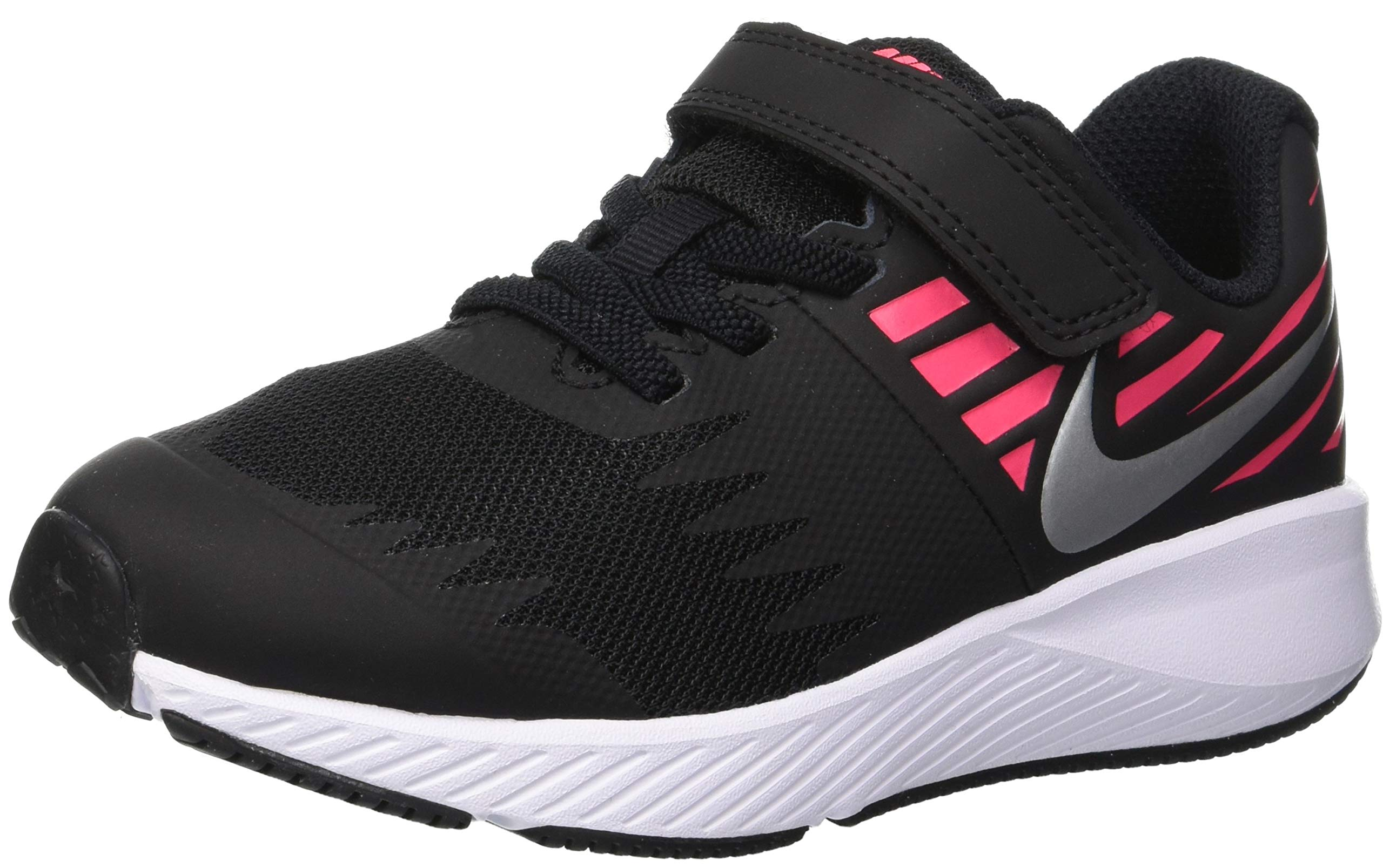 Nike Girl's Star Runner (PSV) Pre-School Shoe Black/Metallic Silver/Racer Pink/Volt Size 1.5 M US by Nike (Image #1)