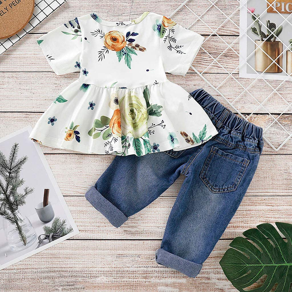 3 Piece Set Baby Off Shoulder Tops Hole Denim Pant Jean Headband WOCACHI Toddler Girl Clothes