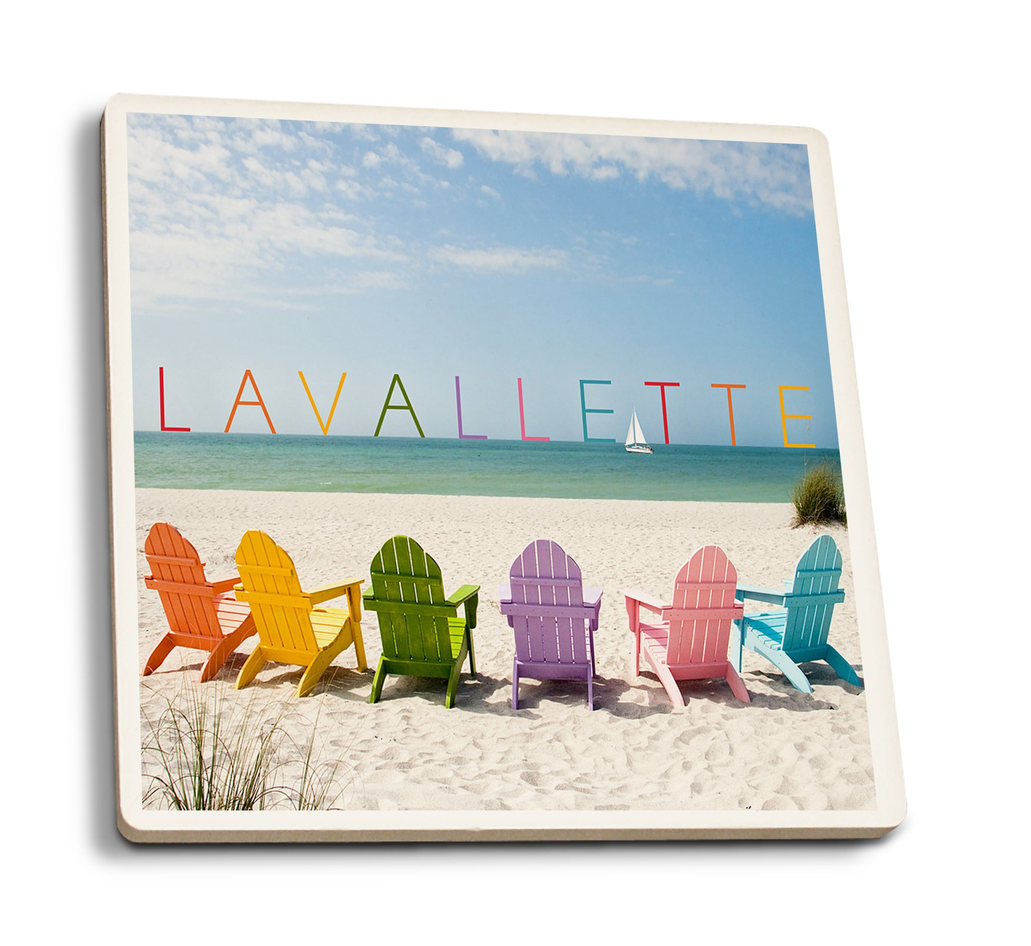 Lavallette, New Jersey - Colorful Chairs (Set of 4 Ceramic Coasters - Cork-Backed, Absorbent)
