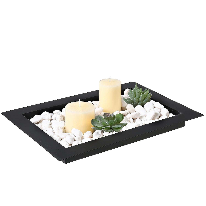17-inch Decorative Metal Wide Rim Centerpiece Platter Display Tray, Black