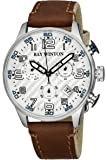 Ray Winton hombres cronógrafo deportivo de plata con esfera de color marrón cuero / correa de lona reloj