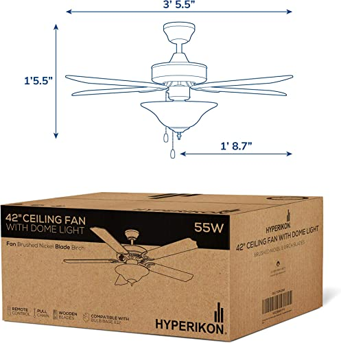 Hyperikon 42 Inch Ceiling Fan, 55W, Remote Control and Pull Chain, Brushed Nickel Body, 5 Blades, Frosted Dome Light E12 Screwbase, Birch