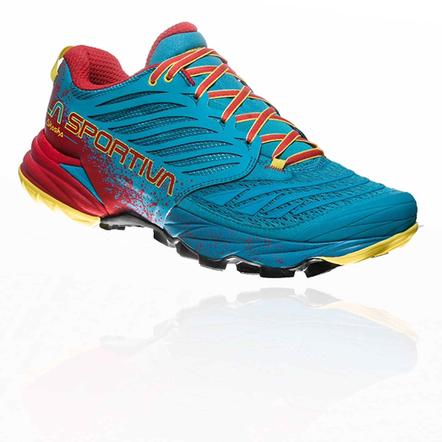 La Sportiva Akasha Tropic, Zapatillas de Trail Running para Hombre 42 EU|Multicolor (Blue/Cardinal Red 000)