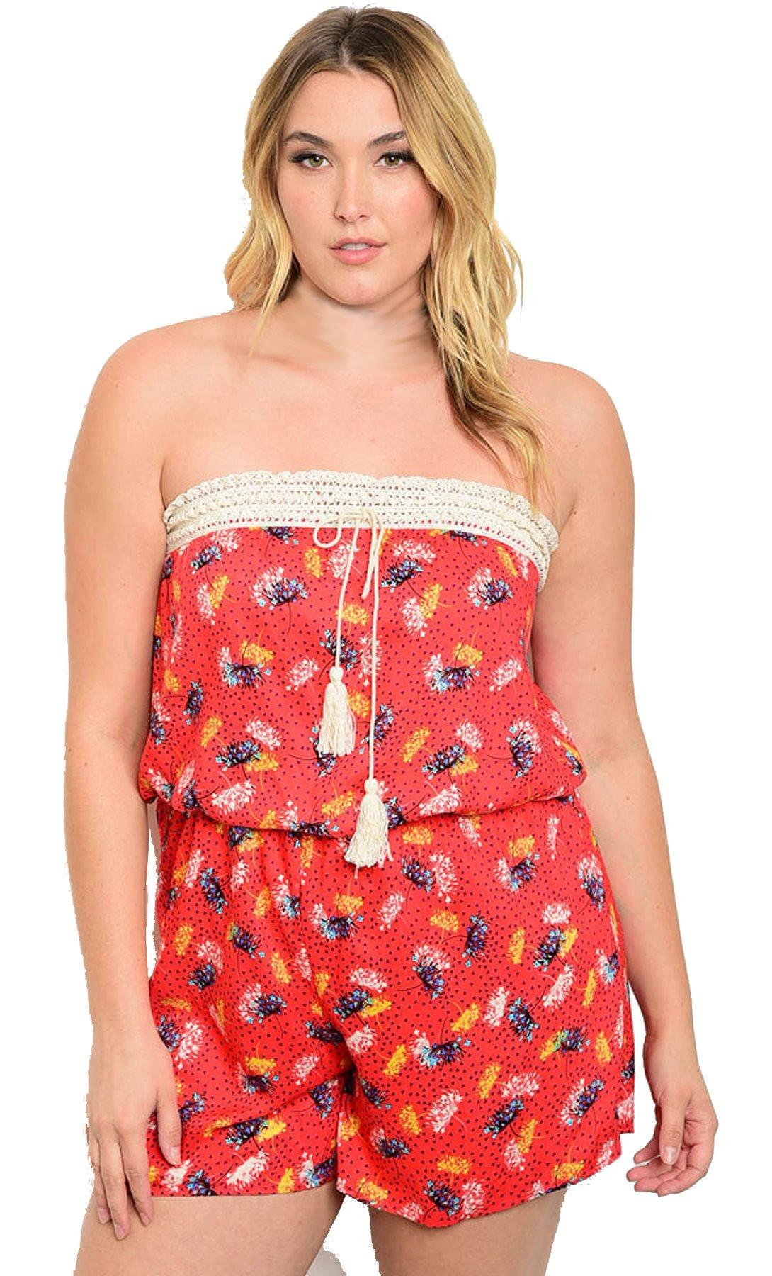 CurvyHQ Plus Size Crochet Top Romper -Size: 3X Color: Orange