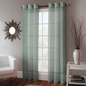 "Gorgeous Home 1 Faux Silk Window Curtain Panel Width 55"" X 84"" Length Solid Sage Green Includes 8 Bronze Grommets"