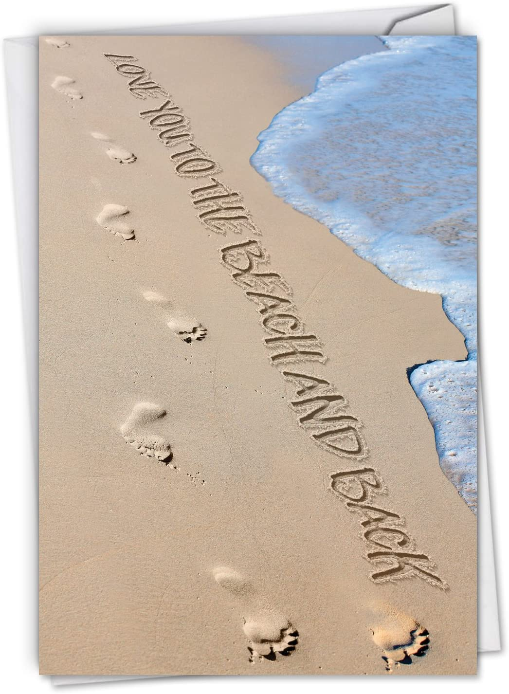 Life's a Beach - Romantic All Occasion Blank Card with Envelope (4.63 x 6.75 Inch) - Message in the Sand All-Occasion Greeting Note Card - Scenic Seascapes, Stationery Notecard C6328EOCB