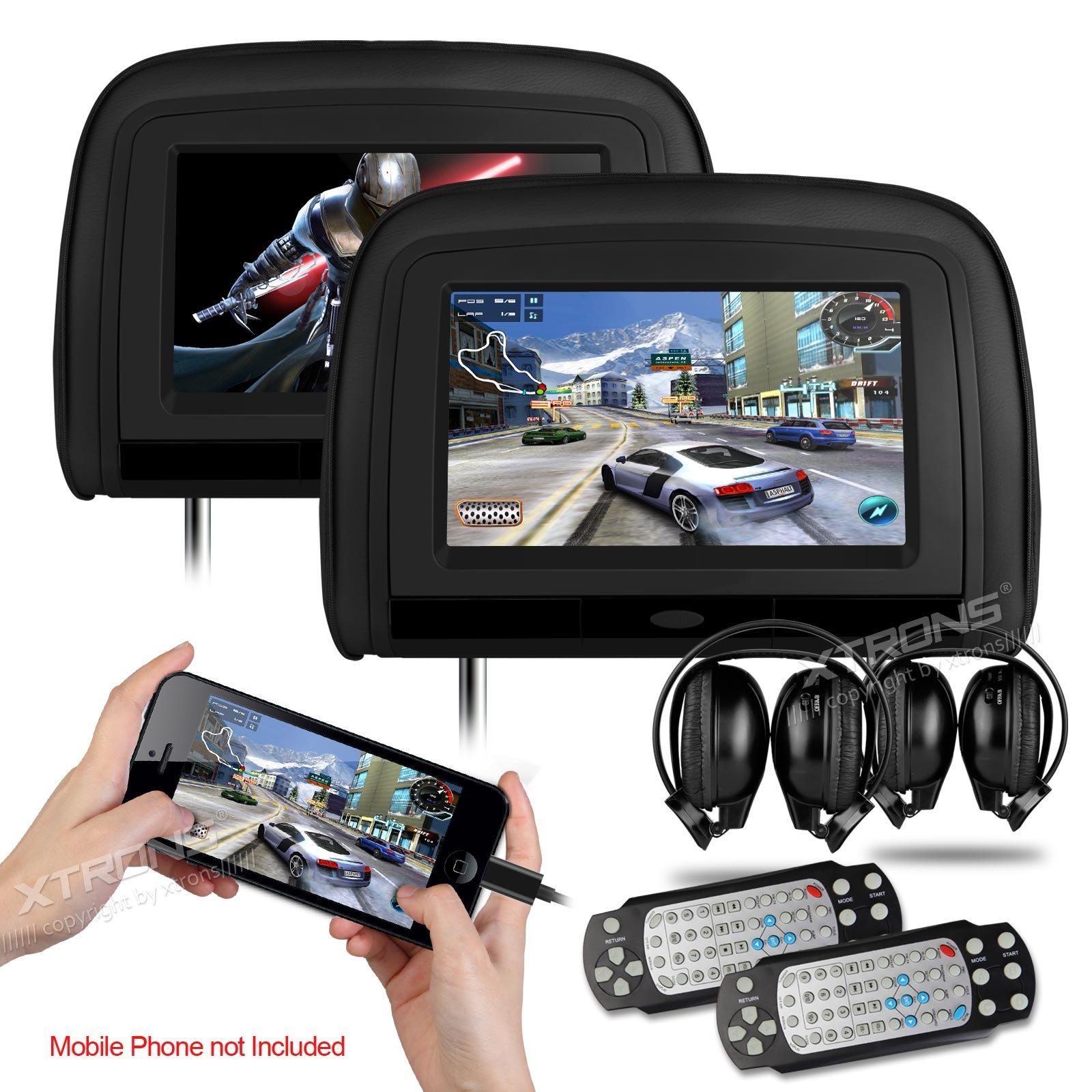 XTRONS Black 29'' HD Digital Widescreen Twin Car Headrest DVD Player 1080P Video with HDMI Input IR transmitter and FM Transmitter&IR Headphones Included