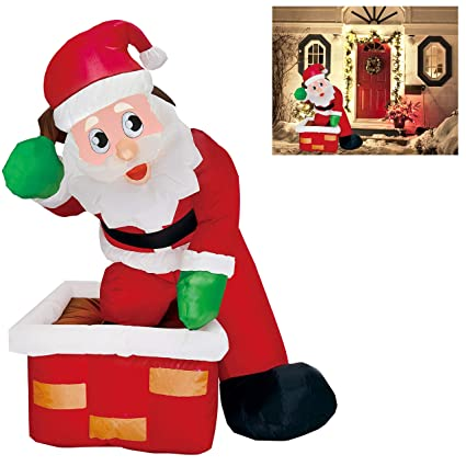 addd983f69c9d Joiedomi 4 Foot Inflatable Santa Claus LED Light Up Christmas Xmas  Inflatable Rooftop Santa Claus Carry