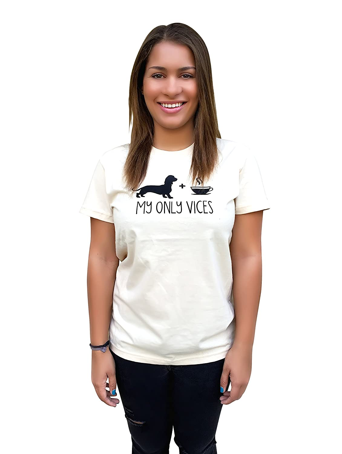 The Dog Squad Women's My Only Vices Dog and Coffee T-Shirt, Medium