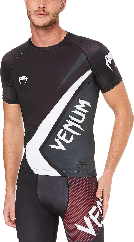 Venum Contender 4.0 Rashguard - Short Sleeves - Black/Grey-White-S, Black/Grey/White, Small