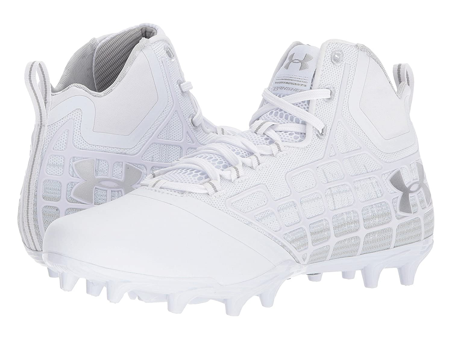 (アンダーアーマー) UNDER ARMOUR メンズ野球ベースボールシューズ靴 UA Banshee Mid MC White/Metallic Silver 2 8.5 (26.5cm) D Medium B07BZZVPDH