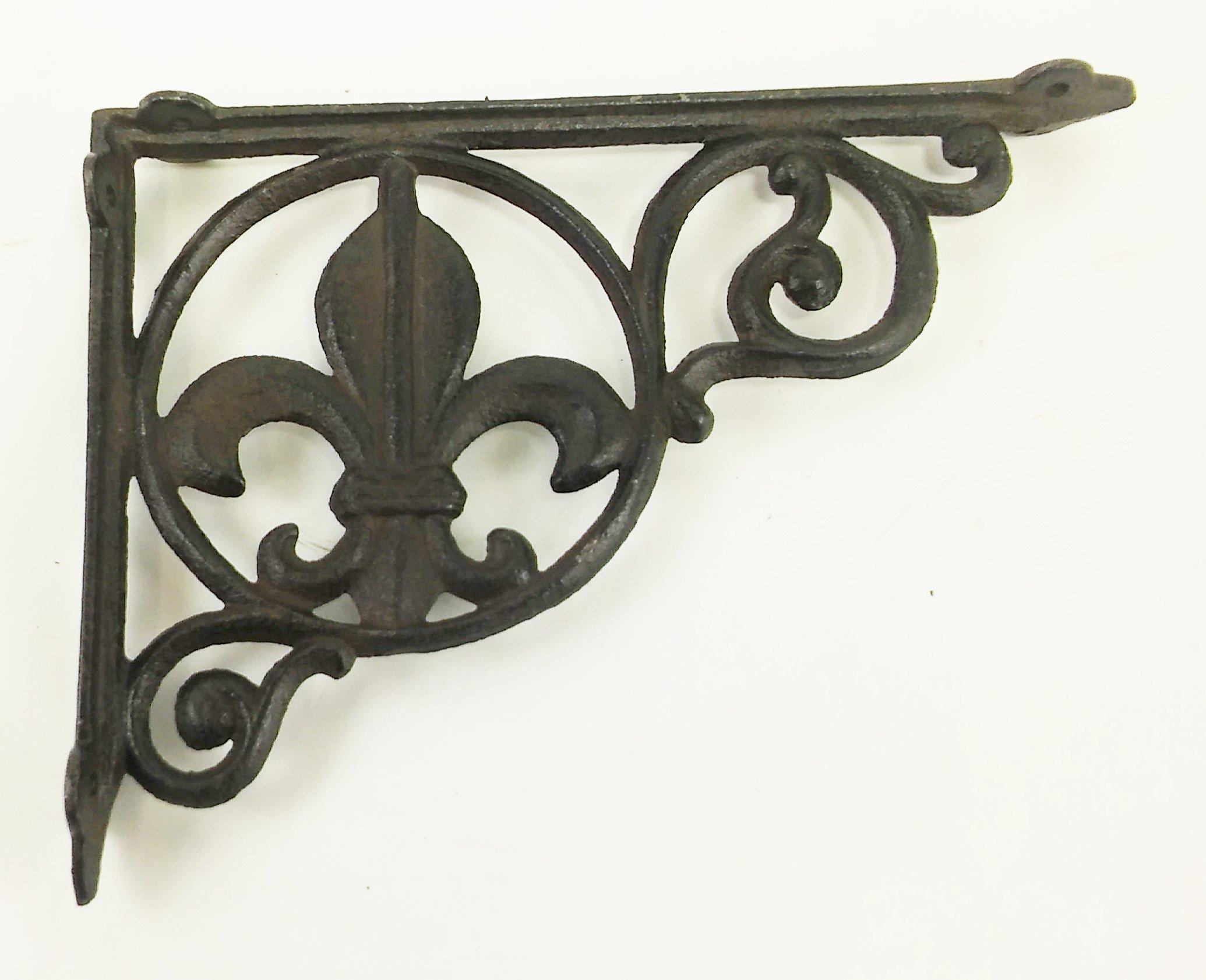 Aunt Chris' Products - Heavy Cast Iron - All-Purpose - Fluer-De-Lis Shelf Bracket - Bronze Rustic Color Finish - Nautical Design - Indoor or Outdoor Use