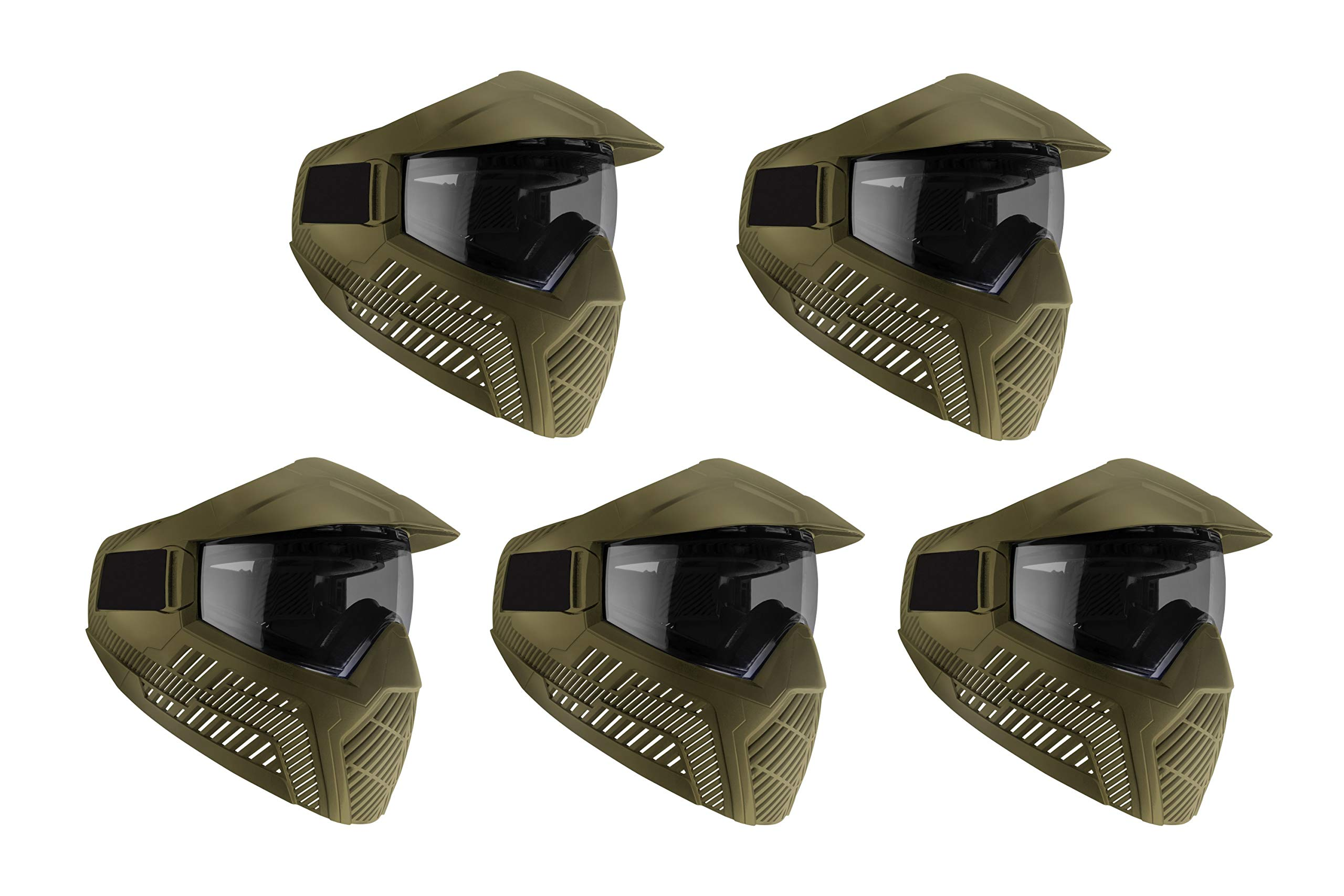 Base GS-F Paintball Goggle/Mask with Built-in Visor - FDE/Tan w/Anti-Fog Smoke Lens (5 Pack) by BASE