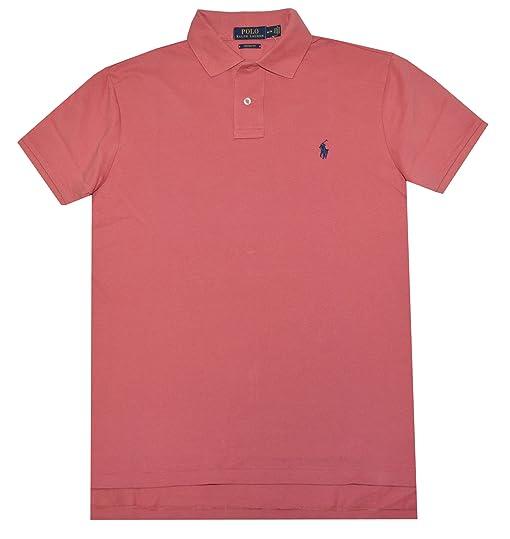 Polo Ralph Lauren Men Custom Fit Mesh Pony Logo Shirt (L, Pale sun red