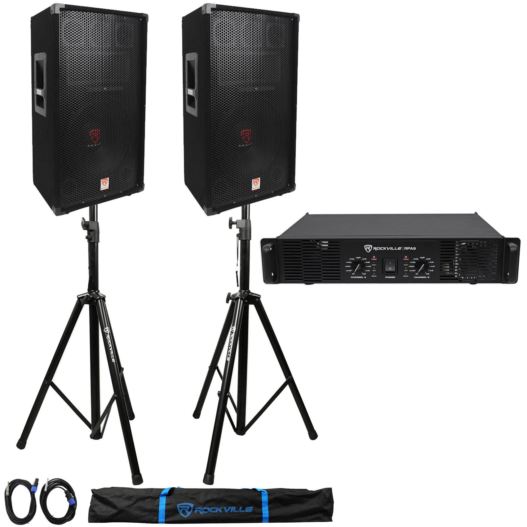 "Package: 2) Rockville RSG-12 Single 12"" 3-Way PA Loudspeakers Totaling 2000W + Rockville RPA8 3000W 2-Channel DJ Power Amplifier + Pair of Rockville RVSS2-TSNL4 Heavy Duty Adjustable Pro PA Speaker Stands + 2)1/4'' to SpeakOn NL-4 Cables + Carrying Case"