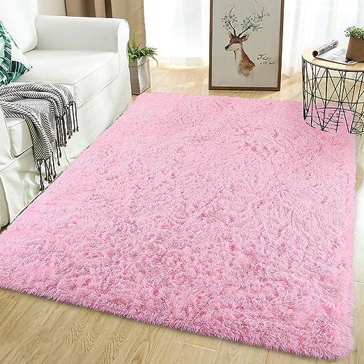 Amazon Com Softlife Fluffy Bedroom Area Rugs 5 3 X 7 6 Feet Shaggy Nursery Rug For Girls Baby Kids Dorm Room Modern Home Decorative Plush Indoor Floor Carpet Pink Home Kitchen