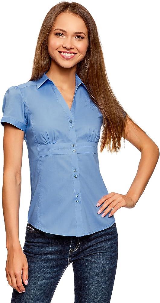 oodji Ultra Mujer Camisa con Cuello Pico Vuelto, Azul, ES 34 / XXS: Amazon.es: Ropa y accesorios