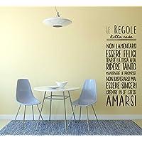 """Adesivo murale con""""Le regole della casa"""" 80x30cm"""