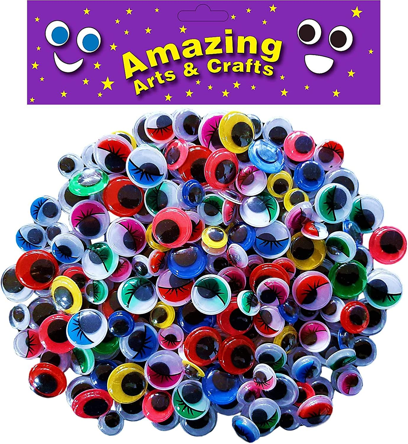 Amazing Arts And Crafts 200 Self Adhesive Wiggle Wiggly Googly Sticky Eyes Assorted Types 10mm 12mm 15mm Amazon Co Uk Toys Games