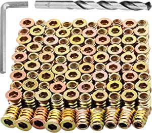 100Pcs Anwenk M6x15mm Furniture Screw in Nut Threaded Wood Inserts Bolt Fastener Connector Hex Socket Drive for Wood Furniture Assortment-Metric M6 (with Hex Spanner & Twist Drill)