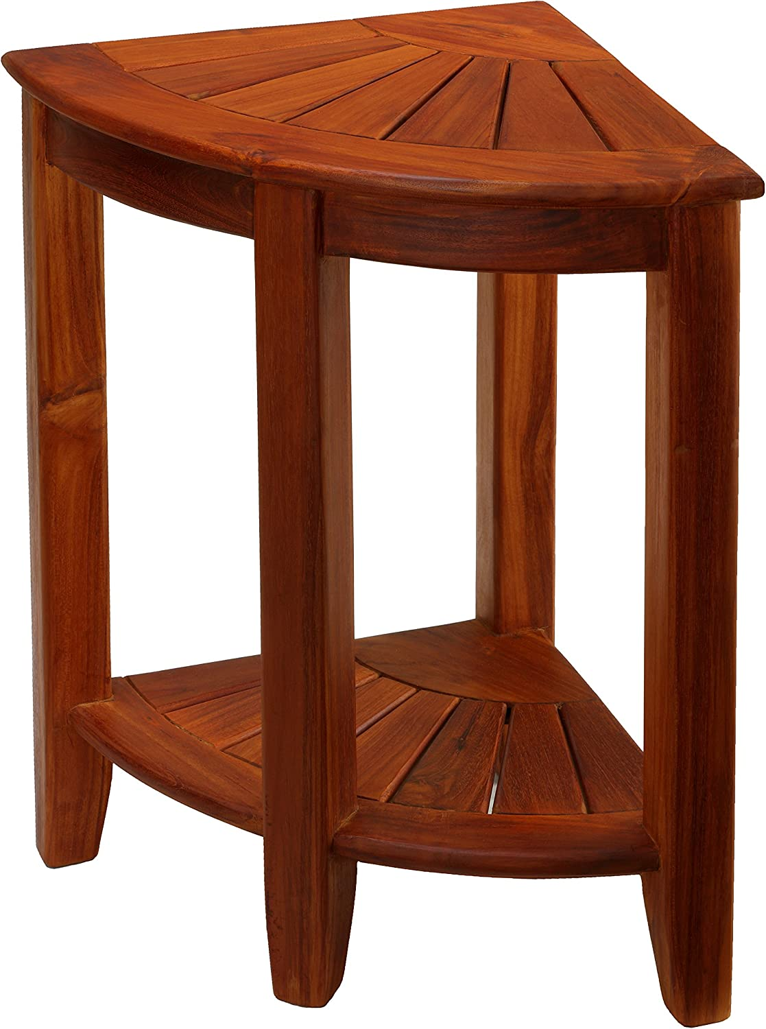 "Bare DÉCor Elana Corner Shower Stool, 24"", Solid Teak Wood"