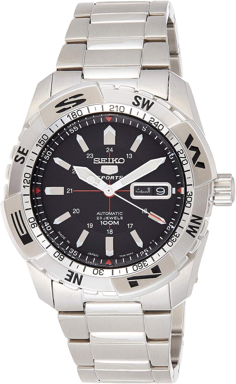 Seiko Sports 5 Black Dial Stainless Steel Mens Watch SNZJ05