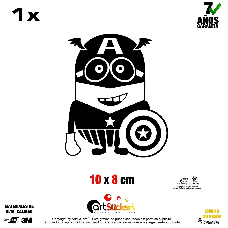Artstickers Sticker Minion Captain America Vinyl schwarz 1 St/ück 10 cm x 8 cm SPILART Geschenk