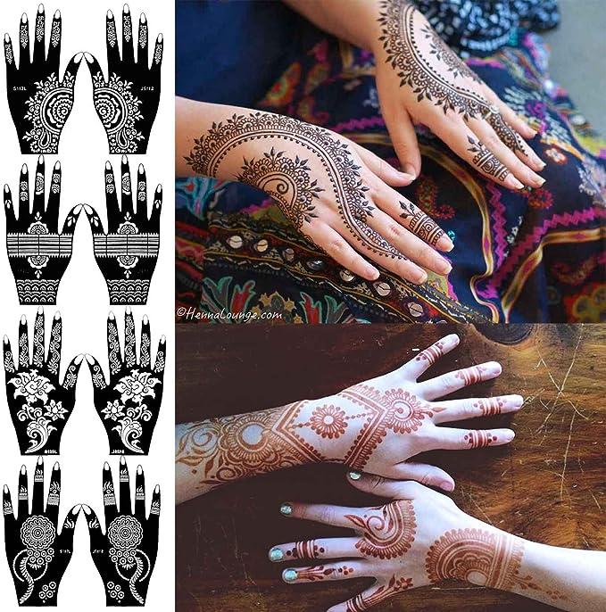 COKOHAPPY 4 hoja Mano Tatuaje Plantilla Autoadhesivo Cuerpo Art ...