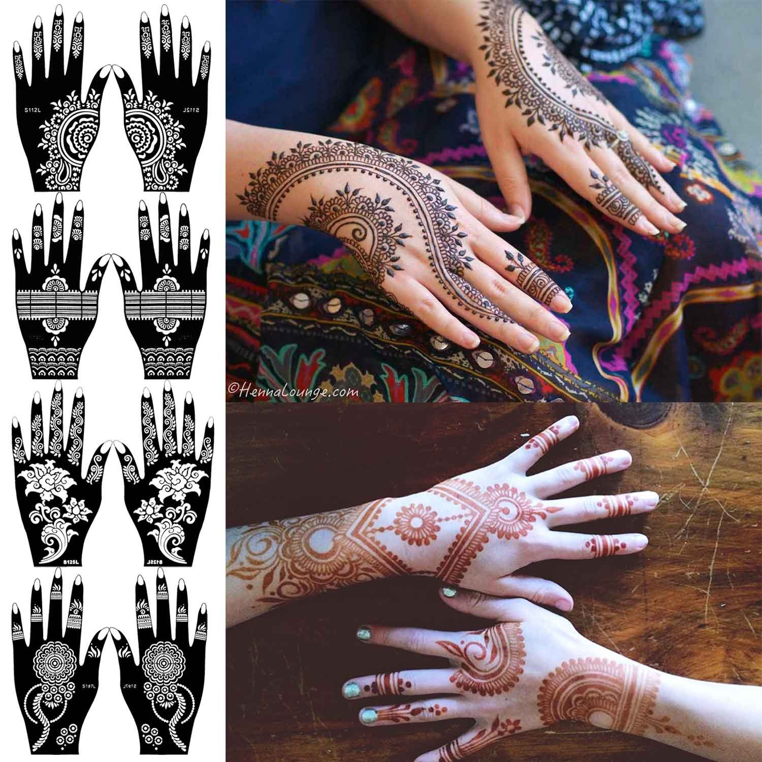 COKOHAPPY 8 Sheets Hand Indian Painting Tattoo Stencil Self-Adhesive Body Art Designs for Hands - Temporary Indian Arabian Tattoo Reusable Stickers