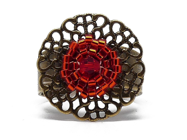 Anillo floral latón perlas japonesas rojo naranja 20mm ajustable ...