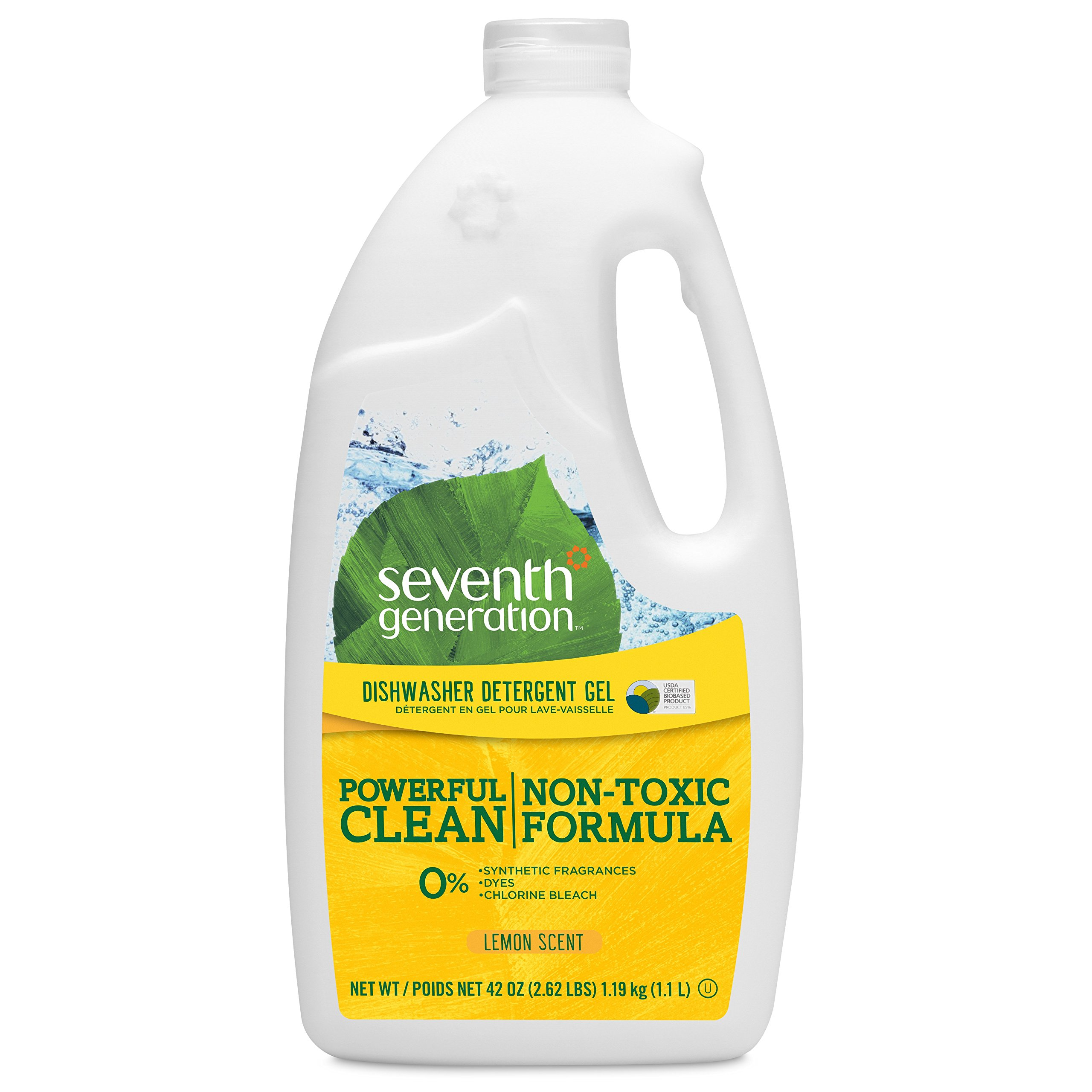 Seventh Generation Dishwasher Detergent Gel Soap, Lemon Scent, 42-Ounce Bottles, Pack of 6, Packaging May Vary