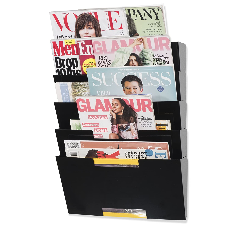 Wallniture Lisbon Hanging Wall Mount File Folder Magazine Newspaper Rack Holder Steel Metal 5 Pack Black Fasthomegoods 188