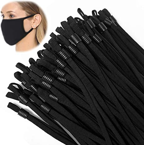 Stretchy Face Cover Earloop Elastic String//Elastic Band for Mask DIY Making-Black TOOVREN 100 Pieces Sewing Elastic Cord with Adjustable Buckle