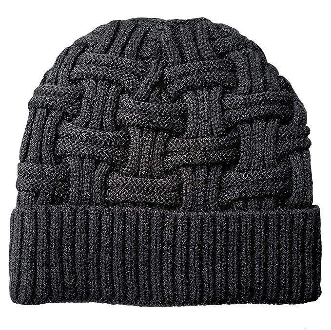 Chalier Mens Winter Warm Knitting Hats Wool Baggy Slouchy Beanie Hat Skull  Cap Black  Amazon.co.uk  Clothing 7f8b15f3911f