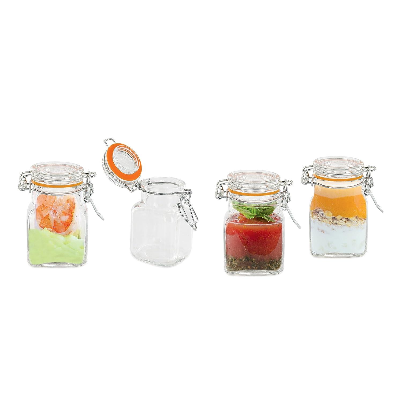 Pick and Drink ka1930/ /Juego de 4/tarros Cierre herm/ético Cristal Transparente 5,50/x 5,50/x 8/cm