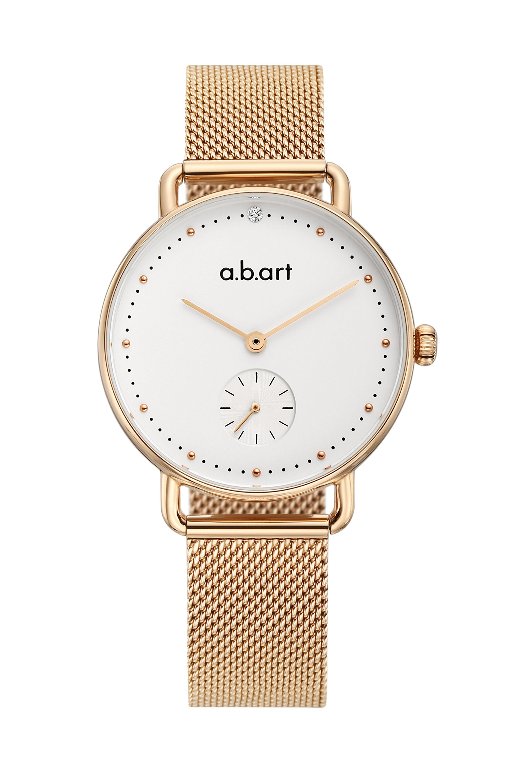 abart FR31-000-7S Sapphire Crystal Dotted Dial Rose Gold Mesh Band Lady Watch (rose gold white)