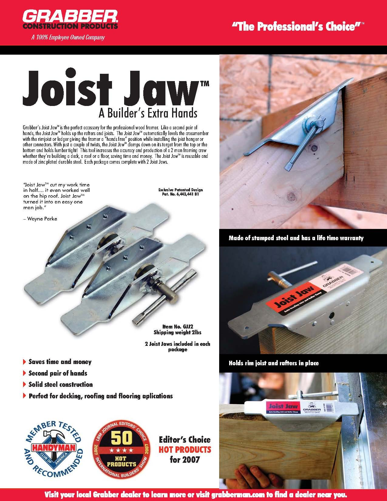 Grabber GJJ2 Joist Jaw, 2 Piece by GRABBER CONSTRUCTION PRODUCTS