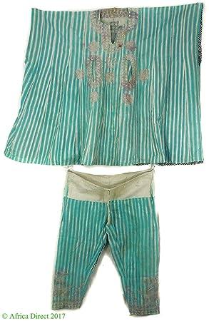 Hausa Grand boubou traje bordado azul rayas Nigeria arte africano ...